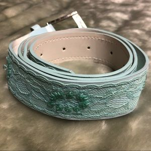 FREE WITH PURCHASE Light Blue Lace Sequin Belt